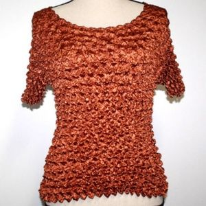 Retro FC Womens Sz Med Top Copper Stretch Crinkle
